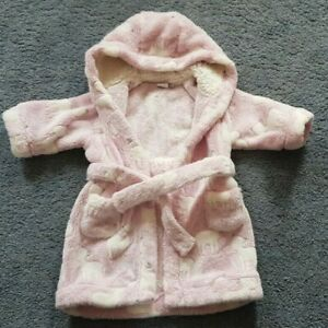 Baby Girls Supersoft Mini Club Pink Dressing Gown 6-9months