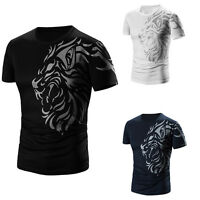 Men Summer Short Sleeve T-Shirt Printing Wolf T-shirt Cotton Blended Blouse Tops