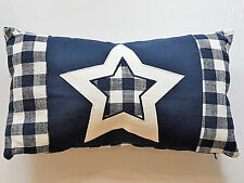 Dekokissen Kissen Stern Jeans Nackenrolle kariert blau weiß mit Reißverschluss
