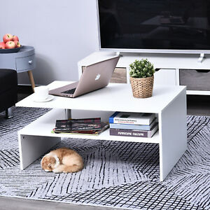 HOMCOM 2 Tier Coffee/End Table Modern Design w/Open Shelf Living Room White