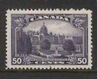 CANADA 226 1935 50c DULL VIOLET BC PARLIAMENT BUILDINGS MPH VF CV$35