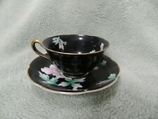 Made in Japan Black Tea Cup and Saucer, with Gold Trim