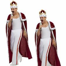 Queen Mens Freddie Mercury Costume 1980s Royal Rock Star Freddy Fancy Dress Outf