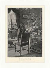 W. Heubach: Baumfrevel Hund Weihnachten Christbaum Krippe Stube Holzstich A 1452