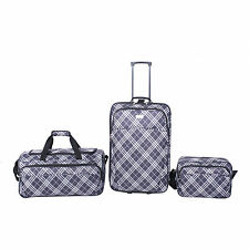 Luggage Travel Set 3-Piece Upright Expandable Suitcase Duffle Bag Carry-on NEW