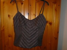 Gorgeous brown corset style waist length strappy silk mix top, COAST, size 12