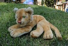 Steiff Lion Lioness Cub Leopard? Vintage Mohair Large Green Eyes Stuffed Animal