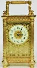 Rare Antique French Brass & Bevelled Glass Filigree 8 Day Carriage Clock