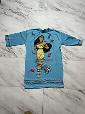 Vintage Disney RARE 90s Pocahontas Meeko Girls Nightgown Night Shirt Blue M/L