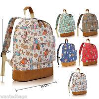 Ladies Girls Owl Canvas Backpack Rucksack School College Shoulder Bag