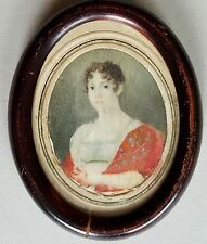 (B067) Biedermeier Miniatur Portrait einer Dame, Gouache Malerei, um 1840
