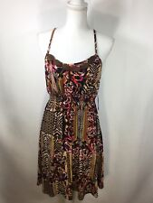 BISOU BISOU Razorback Spaghetti Straps w/Wood Bead Detail Empire Dress SZ 12