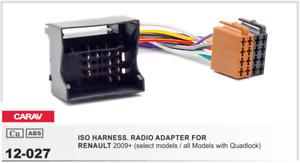 CARAV 12-027 Conector ISO OEM Radio Adaptador RENAULT 2009+ con Quadlock
