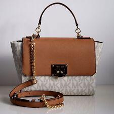 MICHAEL KORS Damen Tasche TINA vanilla/acorn  PVC/Leder MD TH SATCHEL  35T7GT4S2