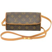 Louis Vuitton Pochette Twin PM M51854 Monogram Shoulder Body Waist Bag Brown