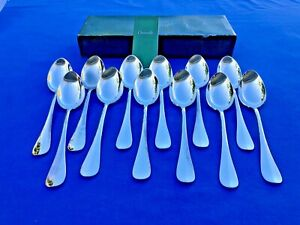 "Christofle Cluny Silverplate 12 Dessert Spoons ""Entremet"" in original box"