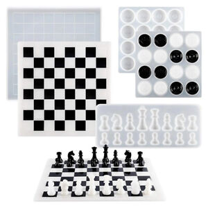 3pcs DIY Crystal Epoxy Resin Chess Chessboard Chess Piece Silicone Mold Durable