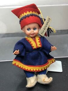 """4"""" Vintage Celluloid Jointed Doll From Romania Rovaniemi Little Boy Adorable #Ac"""