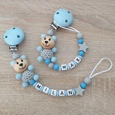 Schnullerkette mit Namen, Teddy, Stern, Junge, Jungen, blau, grau, Baby Geschenk