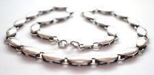 Pesado corto 925 plata esterlina sólida plana Oval Enlace Cadena Collar