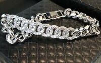 "18K White Gold GF Cuban Link Bracelet made w Swarovski Crystal Pave Diamond 7"""
