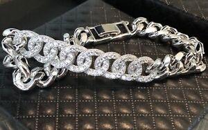"18K White Gold GF Cuban Link Bracelet made w Swarovski Crystal Pave Diamond 6"""