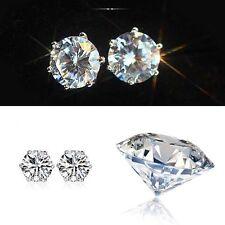 4-10mm Elegant Women Silver CZ Crystal Ear Stud Earring Charm Jewellery Wedding