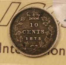 1875-H Canada Silver 10 Cents. ICCS VF-30. Rare Key Date. Toned. BV $2,250
