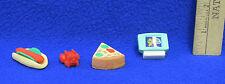 Vintage Eraser Figures Pencil Toppers Green TV Lobster Sandwich Pizza Slice 4 PC