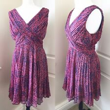 WHISTLES Coral Pink Blue Pleated Dress Size 12 Cruise Party Fit & Flare