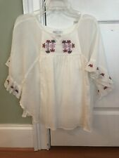 Nwt GapKids Girls Shirt Size M Embroidered Blouse Bohemian Top 3/4 Sleeve