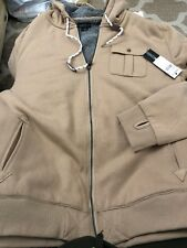 NEW Oneill BELLENA Lined Sweatshirt Jacket Mens  Pockets Hoodie SZ L STONE COLOR