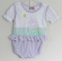 POPSICLE Size 6-9 Months Girls Purple Ruffles Short Sleeve Bodysuit Romper