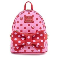NEW Disney Loungefly Minnie Mouse Pink & Red Polka Dot Bow Mini Backpack