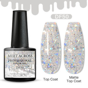 Meet Across Spring UV Gel Nail Polish Soak Off Silver Glitter Gel 6ml Salon
