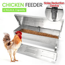 8.2L Automatic Chicken Food Feeder Treadle Self Opening Feed Galvanized Silver