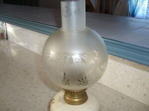 globe et tube verre dépoli pour lampe a pétrole
