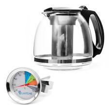 Glas Teekanne Thermometer Set Teesieb Teebereiter Glaskanne Edelstahl Tee Kanne