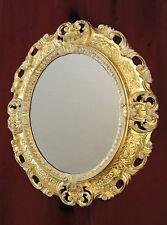 Espejo De Pared Antiguo Ovalado Oro Blanco Baño 51x37 Shabby Barroca C496 Muebles Antiguos Y Decoración