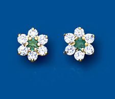 Unique Wishlist 9ct Yellow Gold Emerald & Cubic Zirconia Cluster Studs AP0220