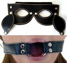 Leather Blindfold Eye Patch & Mouth Gag Set Adult BDSM Toy H150B+H155B