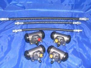 4 Wheel Cylinders & Hoses 1942-1948 & 1955-1957 Pontiac 42 46 47 48 55 56 57