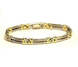 "14k yellow white gold .40ct SI3 H diamond tennis bracelet 18.9g 8"" ladies womens"