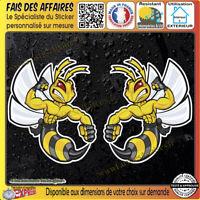 2 Stickers Autocollant adhésif guêpe hornet wasp vespa decal moto réservoir ipad