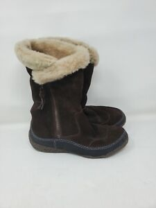 Clarks Size 7 Brown Suede Winter Boots Shearling Lining Faux Fur Cuff Snow Warm