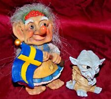 Exceptionally Rare Allan Flink Trolls of Sweden Scandinavian Souvenir Lady Flag