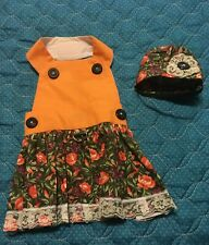 Flowers and Lace Country Dress for Small Dog with Cap