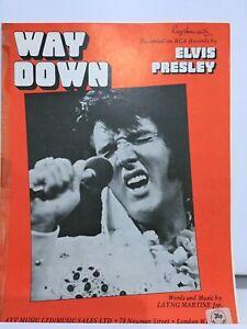 Rare Original UK #1 Sheet Music - Way Down - Elvis Presley (1977)