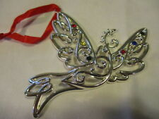 "Lenox Sparkle And Scroll Multi Dove Ornament With Red Ribbon Hanger 5"" x 4"""