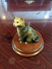 Unusual 1991 Leonardo Collection Tabby Cat On Plynth